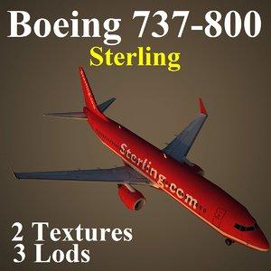 3d boeing 737-800 snb