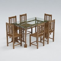 chair table set 3d model