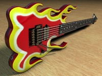 3d model ibanez flame guitar