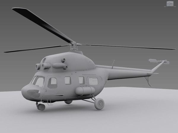 3d obj mil mi-2 helicopter