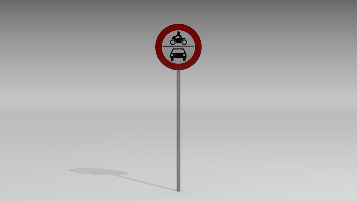 3d vehicles prohibited sign model