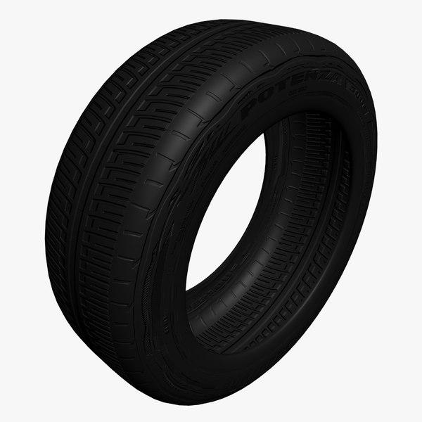 bridgestone tire materials 3d model