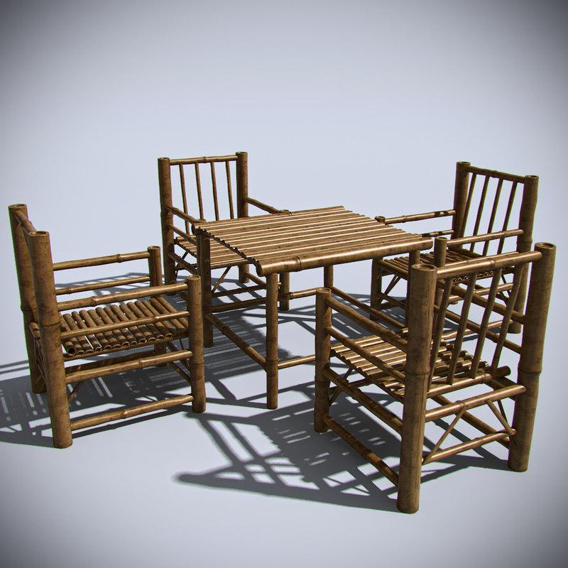 bamboo interior furniture 3d model