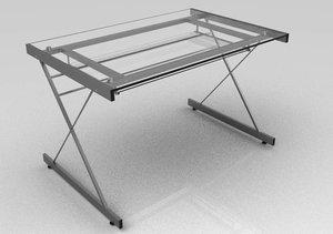 3d computer glass desk model