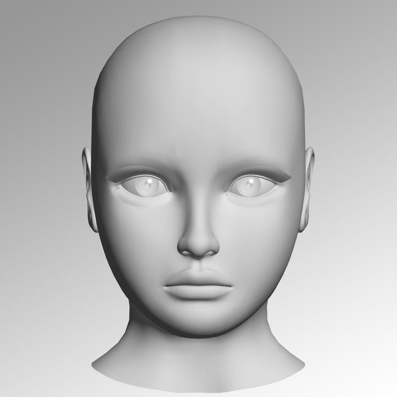 3d model girl head