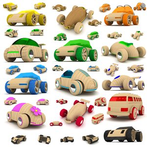 3d wooden toy cars