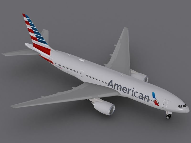 boeing 777-200 er american 3d max