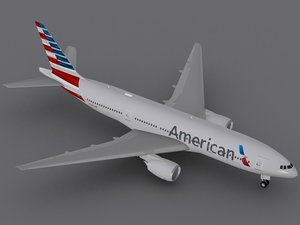 boeing 777-200 er american 3d max