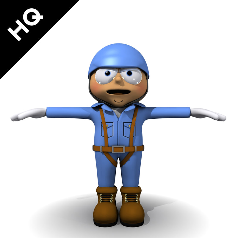 cartoon character worker 3d max
