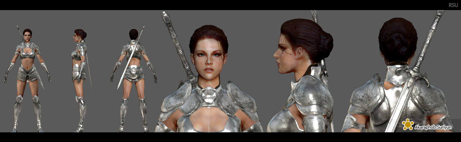 warrior woman 3d model