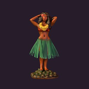 3d model dashboard hula girl