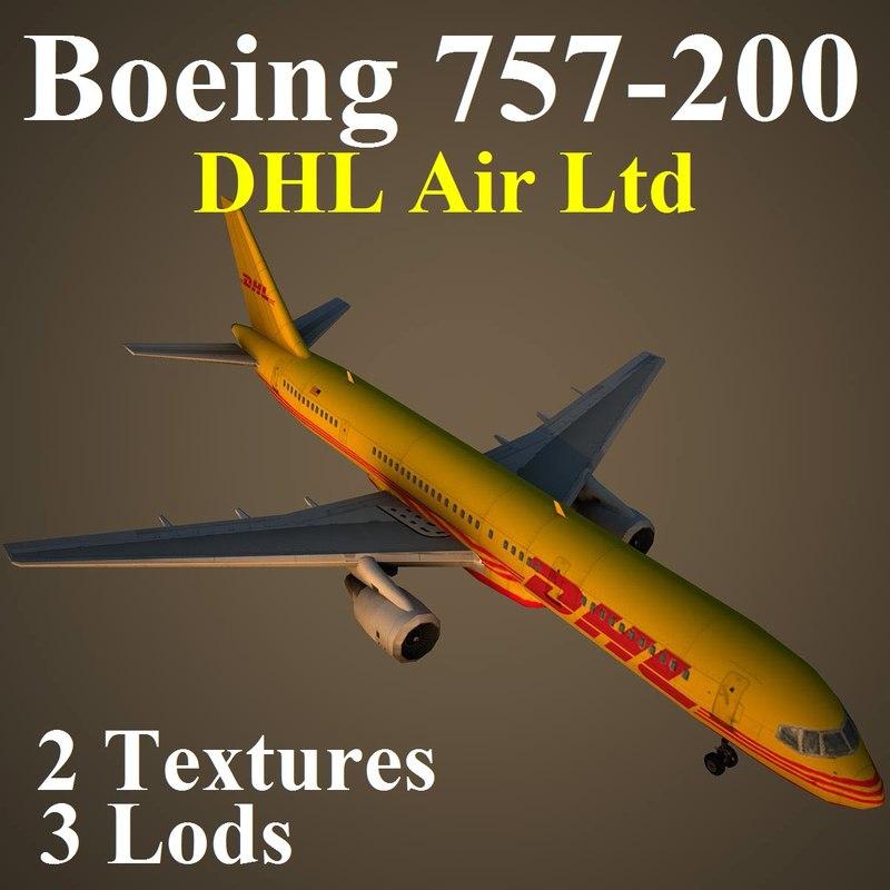 3d model boeing 757-200 dhl