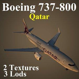 boeing 737-800 qtr 3d model