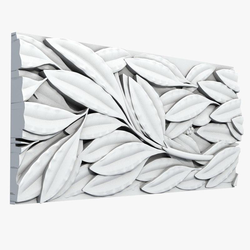 3d model tileable leafs molding