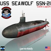 uss seawolf ssn-21 marine 3d model