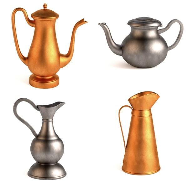 antique teapots 3d model