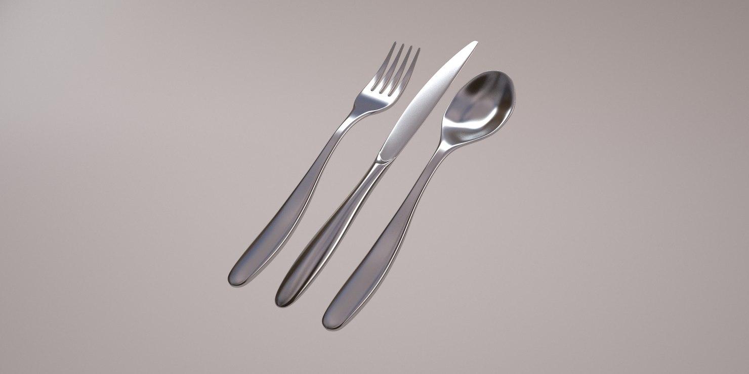 3d model alessi silverware