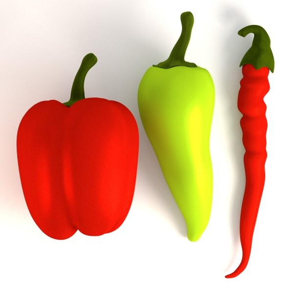 peppers red green 3d model