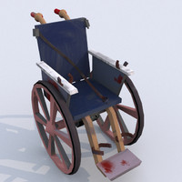 3d model bloody wheelchair uv-map