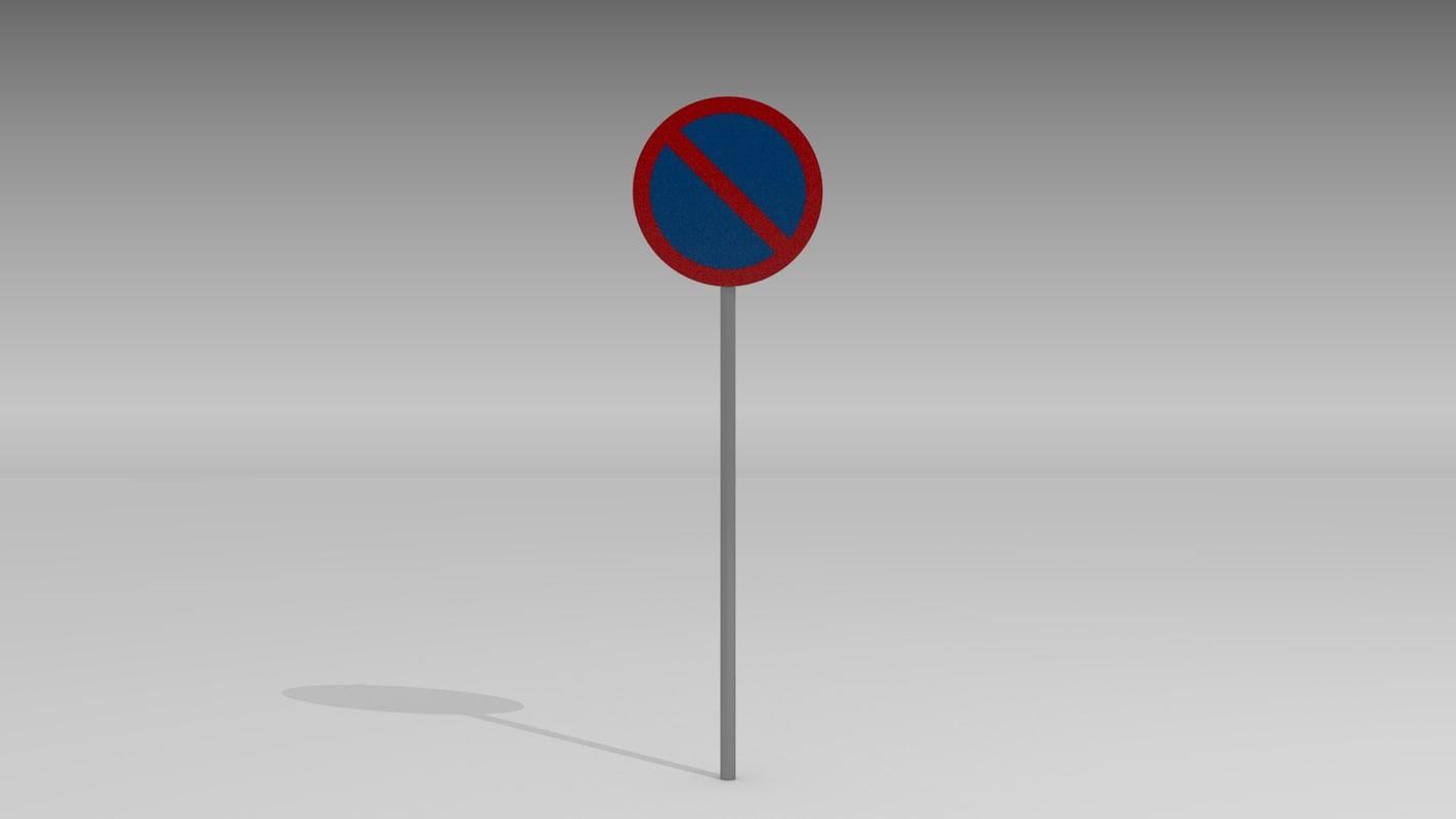 3d parking sign model