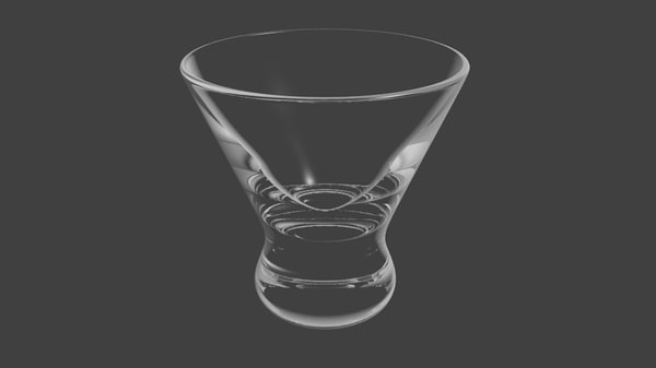 3ds max white clear martini glass