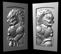 Print Ready 3D Model Chinese Guardian Lion / Foo Dog / Fu Dog Bas Relief Panel renders for CNC
