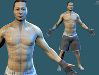 asian boxer fighter 3d obj