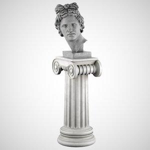3d decorative sculpture apollo pedestal model