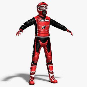 3d model motocross rider