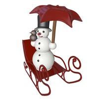 Snowman on a sleigh