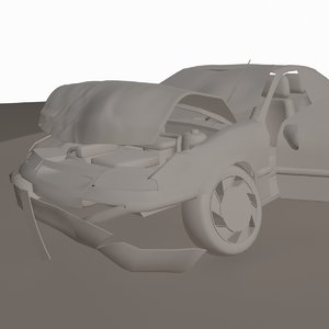 opel crashed 3d model