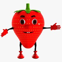 strawberry berry character 3d model