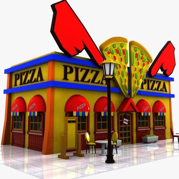 3d model cartoon pizza restaurant for Restaurant builder software