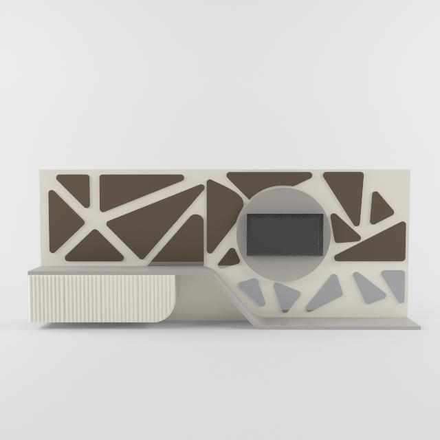 3d model tv unit wall