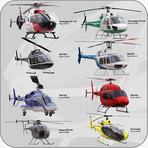 helicopters ec 3d max