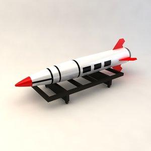 mgm-140 tactical ballistic missile 3d model