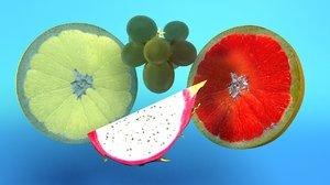 fruits dragon citrus 3d model