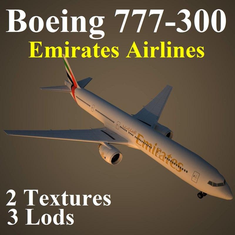 boeing 777-300 uae 3d model