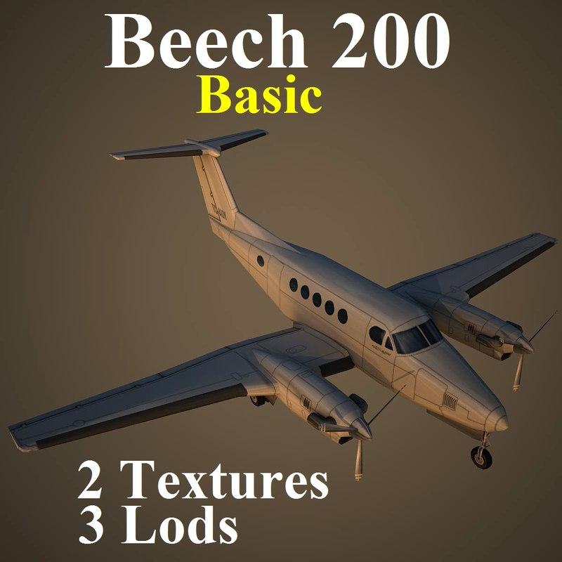 3d model beech 200 basic aircraft