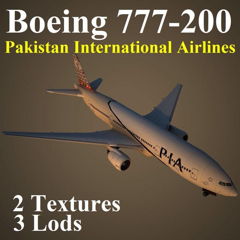 boeing 777-200 pia 3d model