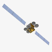 measat communications satellite 3d model