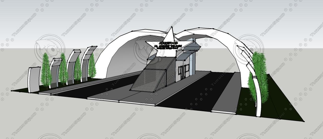 entrance gate building 3ds