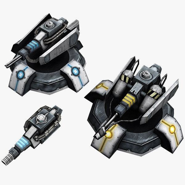 sci fi turrets 3d model
