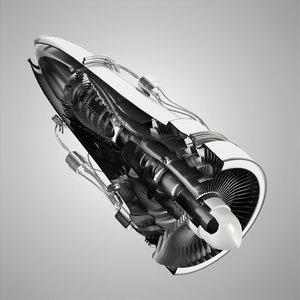 jet engine cutaway 3d model