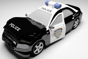 police car destroyed 3d model