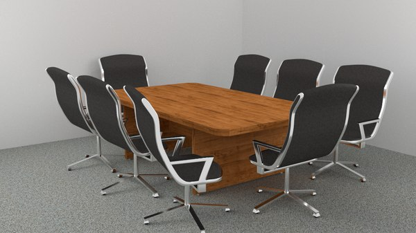 office board room table 3d obj