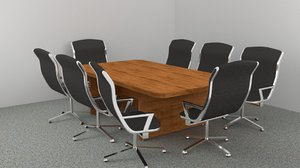 office board room table 3d obj