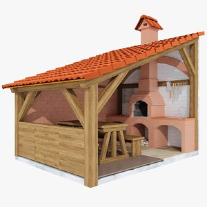 grill barbecue terrace 3d