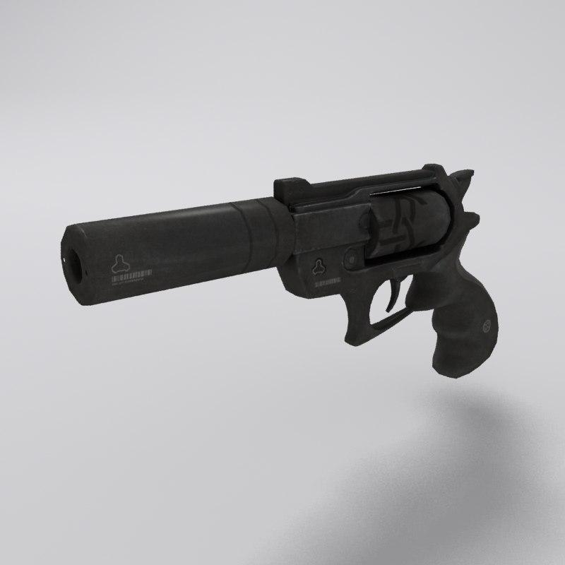 3d revolver modeled