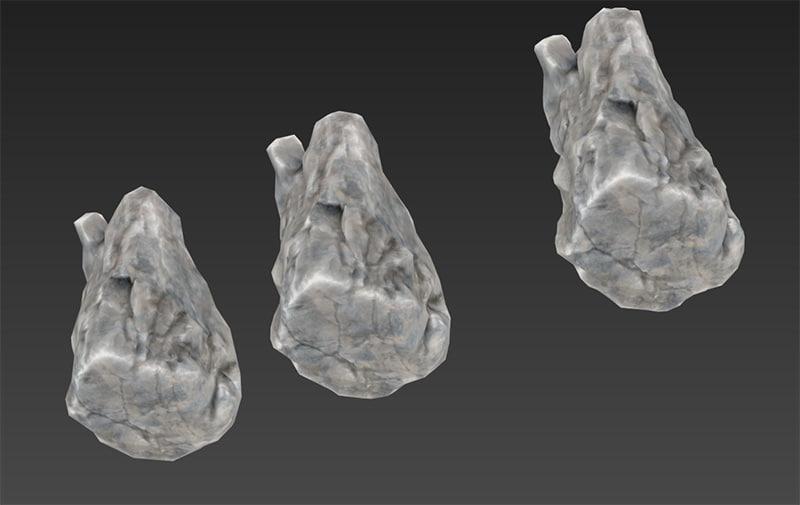 3d model rock normal lods